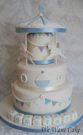 carousel nautical baby shower cake...okay, here's the deal, if my first born is a boy, I am making this cake happen for the baby shower :P lol I love this!!!