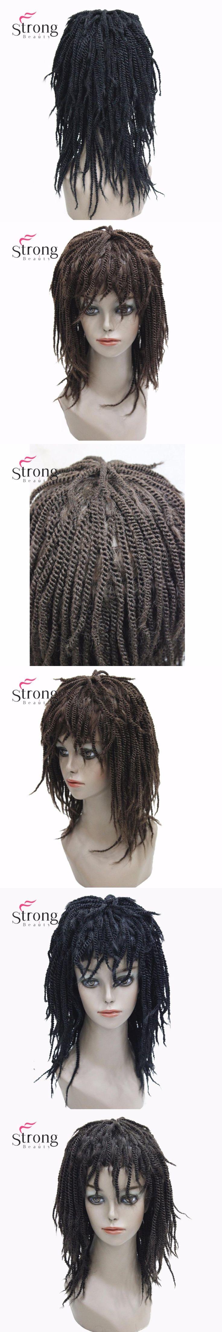 StrongBeauty Women's Synthetic Braided Box Braids Wig Medium length Dark Black/Brown Dreadlock Hair African American Wigs