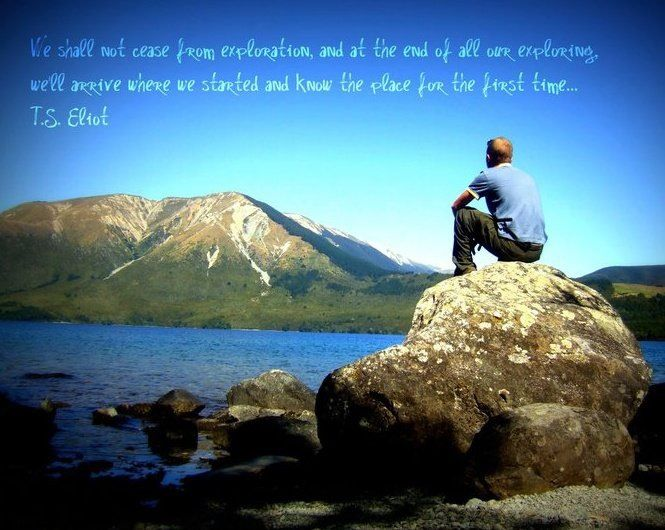 Me contemplating a T.S. Eliot travel quote in New Zealand