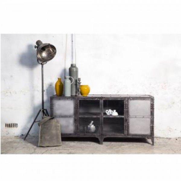 Industrial Metall TV Möbel 152 cm Lowboard Fernsehtisch Sideboard vintage grau