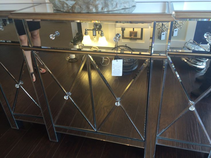 Mirrored table at Pego Lamps in Miami.