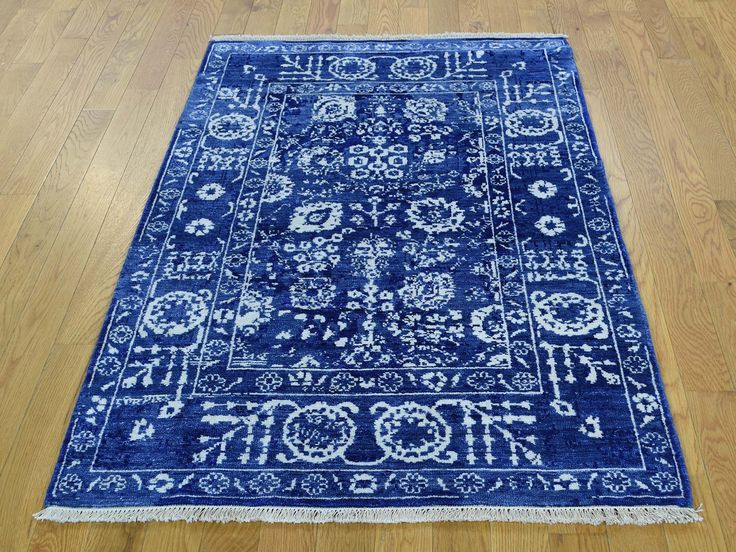 "3'2""x5' Hand-Knotted Wool And Silk Tone on Tone Tabriz Oriental Rug #rugs #carpet #store #sale  #oriental #blue #shopping #home #decor #"