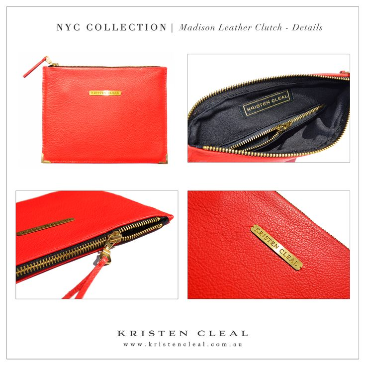 Madison Leather Clutch Details by Kristen Cleal Designs  Shop our online store at www.kristencleal.com.au