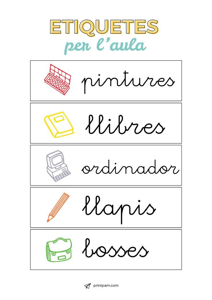 Cartells pel material d'aula. Descarrega't el 50 amb + de 50 elements. www.printpam.com/kit-aula