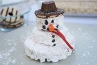 See how to make this Rice Krispies Treats Snowman with Fudge Hat that makes a great winter snack.   #Snowman