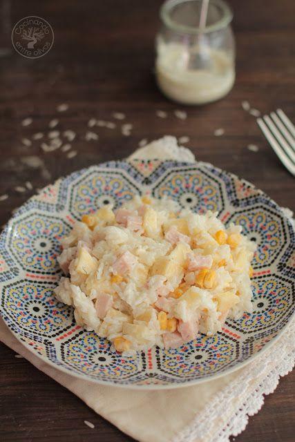 Ensalada de arroz, pechuga de pavo, maíz y manzana. Receta paso a paso