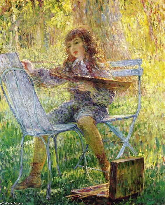 'jeunes peintre', huile sur toile de Henri Lebasque (1865-1937, France)