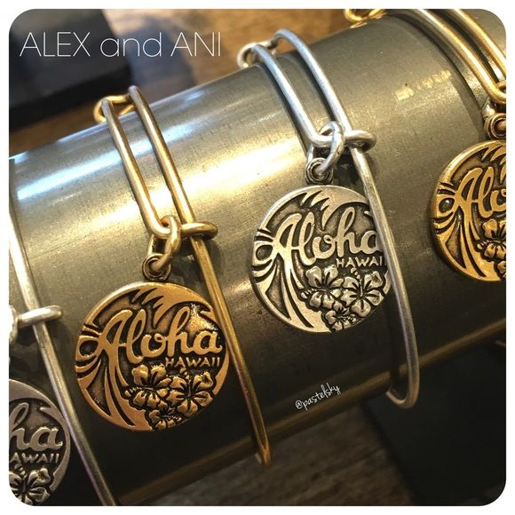 $5 off when signing up with code: HPCEV   ALEX AND ANI aloha hawaii bracelet   NEW with tags in perfect condition.   EXCLUSIVELY sold in hawaii! not available online or in stores. comes in flat gold or flat silver  due to lighting- color of actual item may vary from photos.    Alex & Ani Jewelry Bracelets