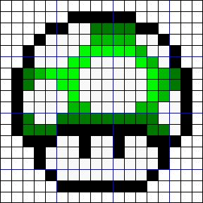 1UPキノコのアイロンビーズ図案(反転)