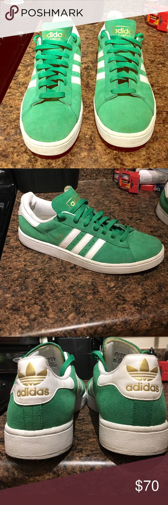 🔫☘️Green Adidas Campus's: Suede Men's Sz 12🔥🍀 Celtic Green Adidas Campus w/gold writing, Men's 12. They're wicked comfortable, worn maybe 4-5 times max. Haven't been worn in 6 months, and were just cleaned before posting. Didn't need much work but they're a 9/10, maybe 9.5.  I don't wear anything but Nike now so don't have much use for em but they're EXTREMELY RARE, price will reflect that but nothing crazy. Adidas Shoes Sneakers