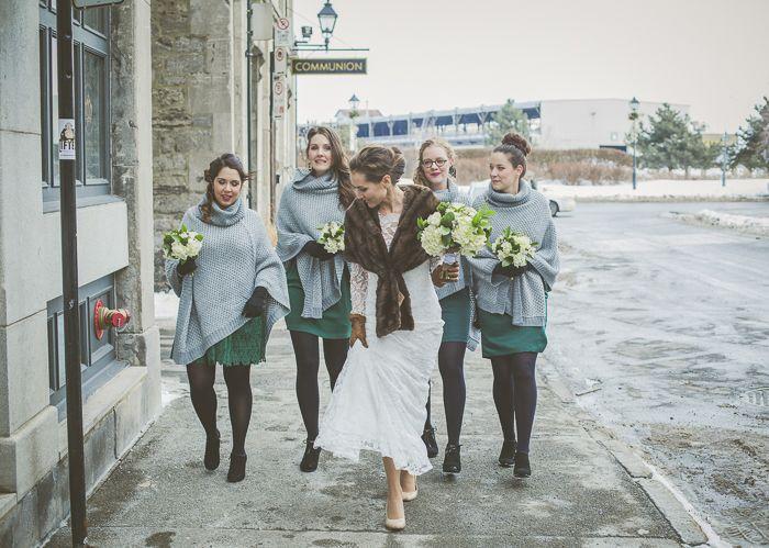 Mariage d'hiver vintage à Montréal, au Chalet de la plage du Parc Jean Drapeau. Photo par Martine L Image.
