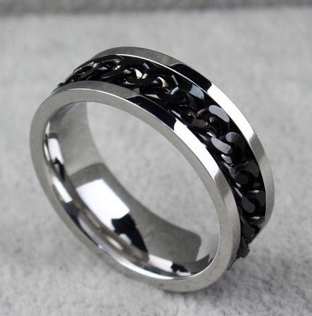 Mens Wedding Ring Black Chain Spinner Promise By Miajewelery 1499