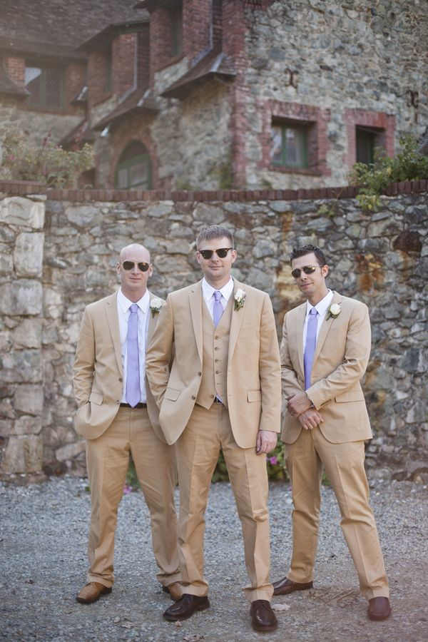 Wedding inspiration, purple ties, tan suits, sunglasses, cobblestone