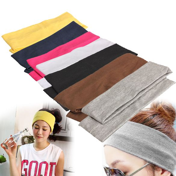 2Pcs Women Yoga Fitness Running Cotton Elastic Headband Hair Strap #CLICK! #clothing, #shoes, #jewelry, #women, #men, #hats