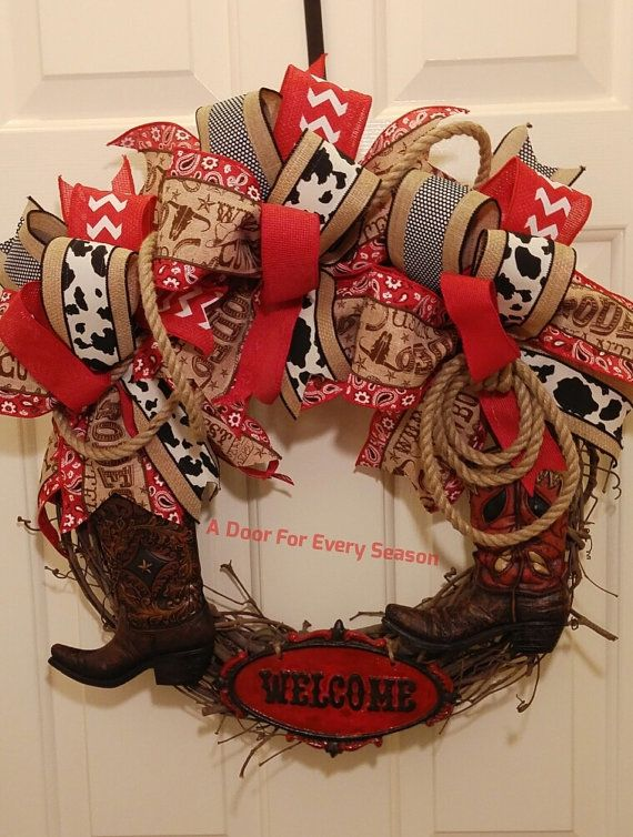 Western Boot Welcome Wreath Grapevine by ADoorForEverySeason