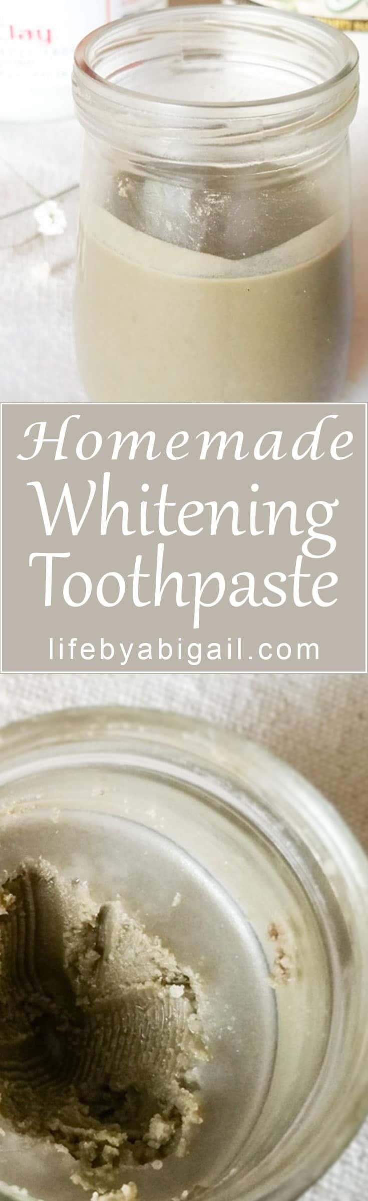 Homemade Whitening Toothpaste is fluoride-free and packed with natural benefits from Bentonite Clay and Essential Oils #homemade #whitening #toothpaste #essentialoils #diy #diytoothpaste #natural #healthy
