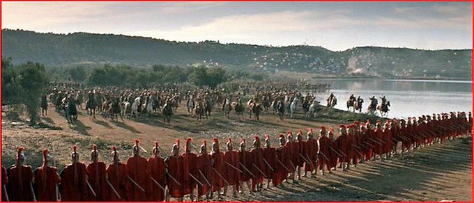 Battle scene from the powerful movie about the 480 BC defense at Thermopylae, the 1962 classic, The 300 Spartans (c) 20th Century Fox  #Thermopylae #Thermopylai #Spartans #Classics #MilitaryHistory #Warfare #AncientGreece #Leonidas