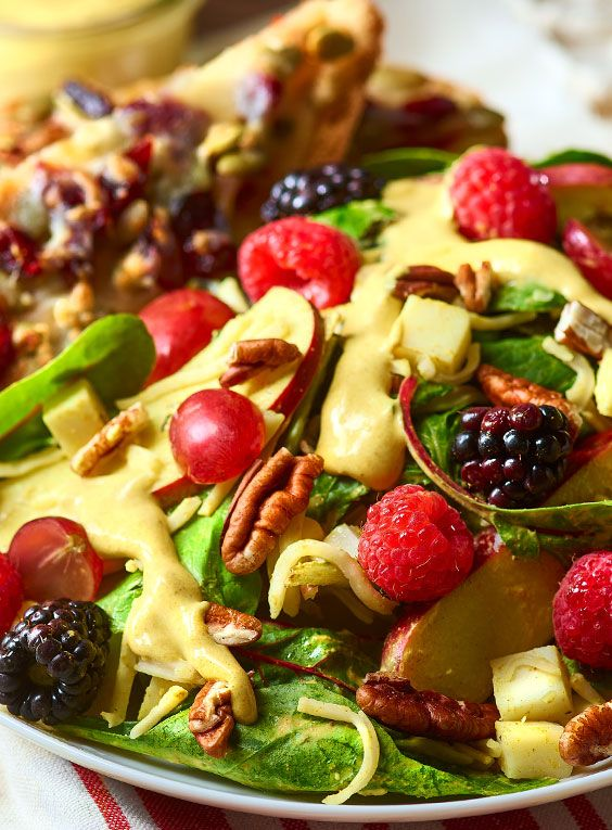 Berry Salad with Turmeric Dressing is a big salad with grown-up taste! This garden creation pairs fresh produce with Chihuahua® Brand Quesadilla Cheese Toast to make a dish that will satisfy healthy appetites.#LoveMyQueso