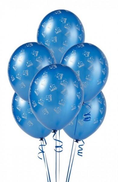 Royal Blue Trains Latex Balloons