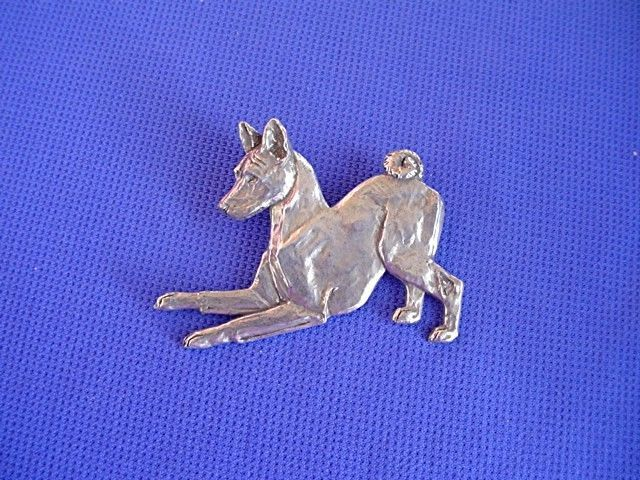 Basenji Pin PLAYING #40H Pewter dog jewelry by Cindy A. Conter sighthound scent #pewterpin