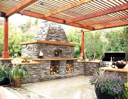 .Outdoor stone kitchen. t
