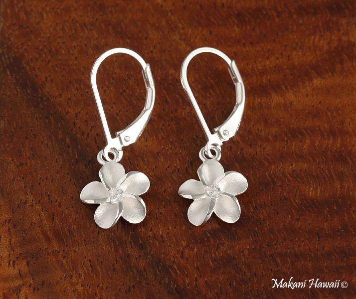 10mm Plumeria CZ Lever Back Earrings White - Makani Hawaii,Hawaiian Heirloom Jewelry Wholesaler and Manufacturer