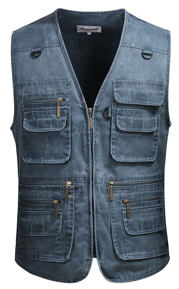 Mrignt Mens Casual Loose Fit Multi-Pockets Zipper Denim Vest Jackets (US 5XL(Asia 8XL), Blue)