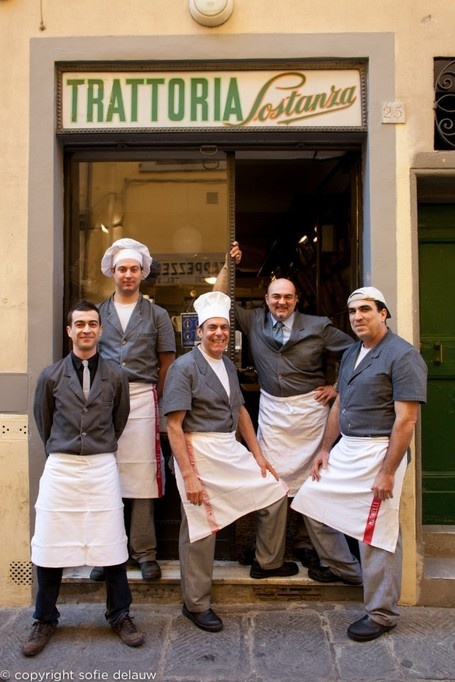 Trattoria Sostanza,- I don't recognize all these guys but I believe the guy standing in the doorway, is the main owner. He was always there and this is my  second favorite place to eat in Florence. It's low key, but the food is outstanding, check it out next time you are in Florence, off the beaten path, and a locals spot