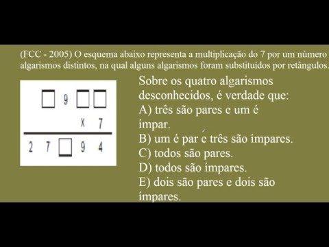 Teste de Atenção Concentrada (TAC) - RACIOCÍNIO LÓGICO MATEMÁTICO NUMÉRICO COM MULTIPLICAÇÃO DE NÚMEROS COM ALGARISMOS ESCONDIDOS OU OCULTOS - EXAME E TESTE PSICOTÉCNICO DE QUOCIENTE DE INTELIGÊNCIA (QI).  O esquema abaixo representa a multiplicação do 7 por um número de quatro algarismos distintos, na qual alguns algarismos foram substituídos por retângulos. (Fundação Carlos Chagas FCC – Ano de 2005).  https://youtu.be/M31ueXum8gs