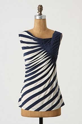 Expanding Universe Tank: A slew of stripes radiates from a cluster of pleats at the shoulder. $58. #Tank #Stripes