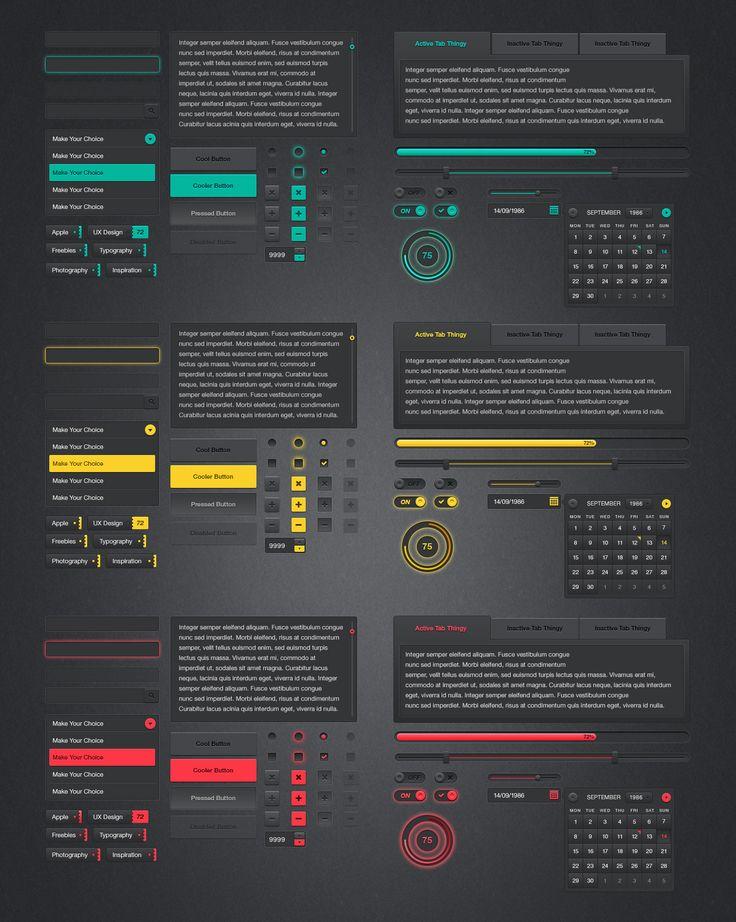 Dark UI Kit (Free PSD) #webdesign #design #designer #inspiration #user #interface #ui