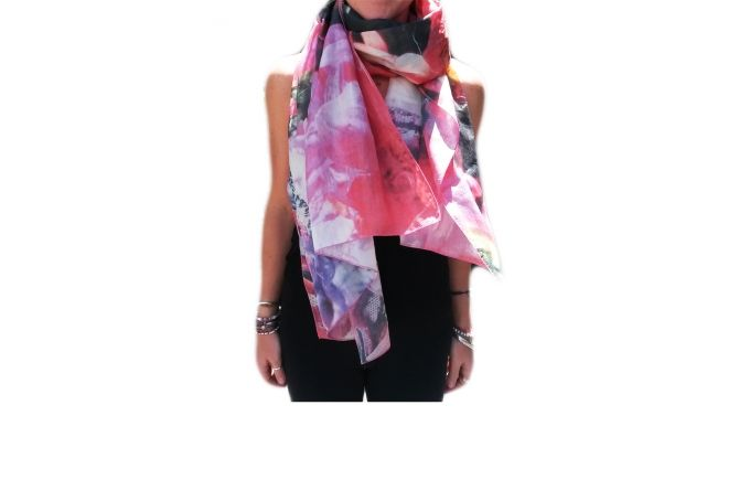 100% Silk Scarf ' Bradelia' by PhotoGanic & Barbi Hanan by PhotoGanic Organic Fabrics