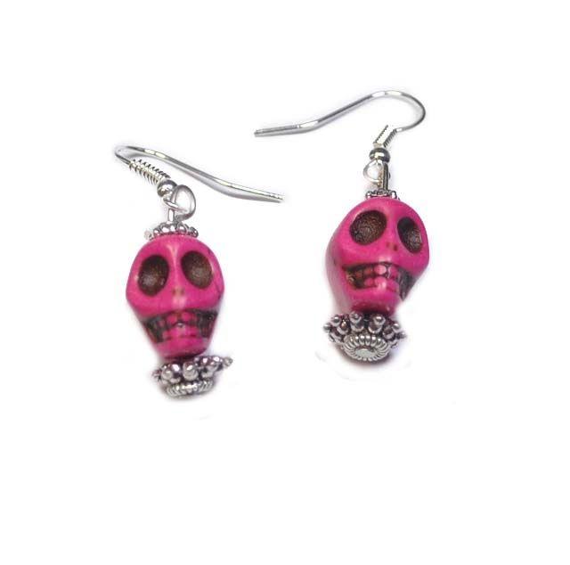 Oorbellen skully roze | Halloween Sieraden | Beads Creations Kralen en Sieraden