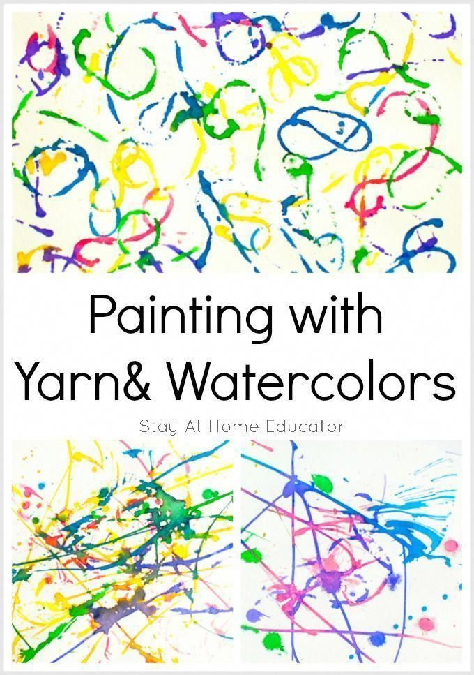 Painting With Yarn And Watercolors Fun Process Art For