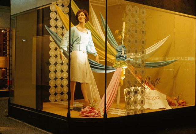 Allan Smith designed this window display of materials while employed by Milne and Choyce in Palmerston North. He was first employed by the C M Ross department store in 1959, which was then bought out by Milne and Choyce. 1960-1966