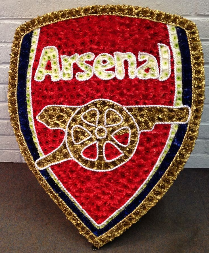 Arsenal football badge funeral flowers.