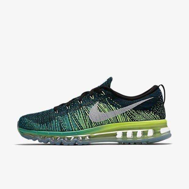 Original Sale Nike Flyknit Air Max Men's Running Shoes Black/Clear  Jade/Volt/