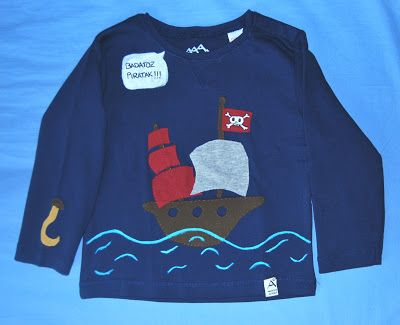 Boys t-shirt with fabric and paint applique. Materials: Cotton fabric and fabric paint