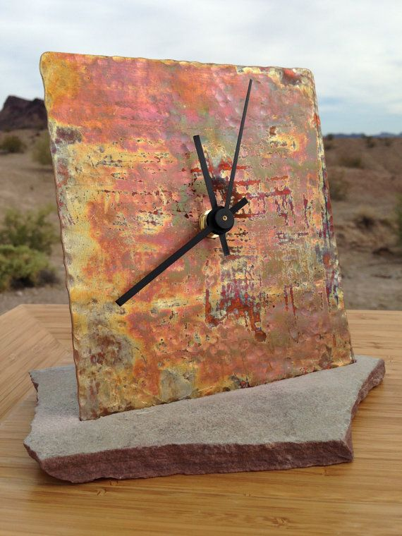 Hammered copper clock - free shipping! wedding housewarming gift unique arizona handmade flagstone industrial decor Christmas holiday thanks