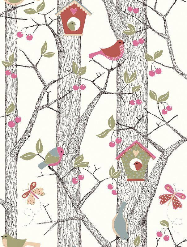 Vogelhuisjes + vogeltjes tekenen in het klad / Kleurpotlood vogels en huisjes + bomen Chinese inkt / A4Papier