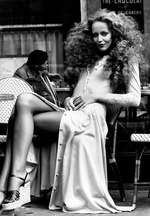 If your hair's curly, let it curl! Jerry Hall Cosmopolitan August 1974