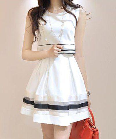 Stylish Women s Jewel Neck Striped Sleeveless Faux Twinset Design Dress