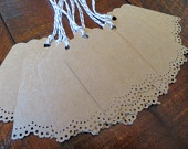 Blank Kraft Gift Tags. Wedding Baby Shower Escort Card Favor Tags Gift Packaging - Hand Punched Doily Lace Set of 10
