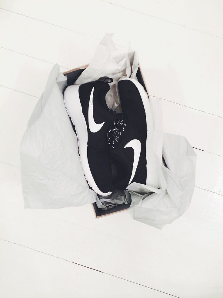 Nike's black and white Roshe run shoes.