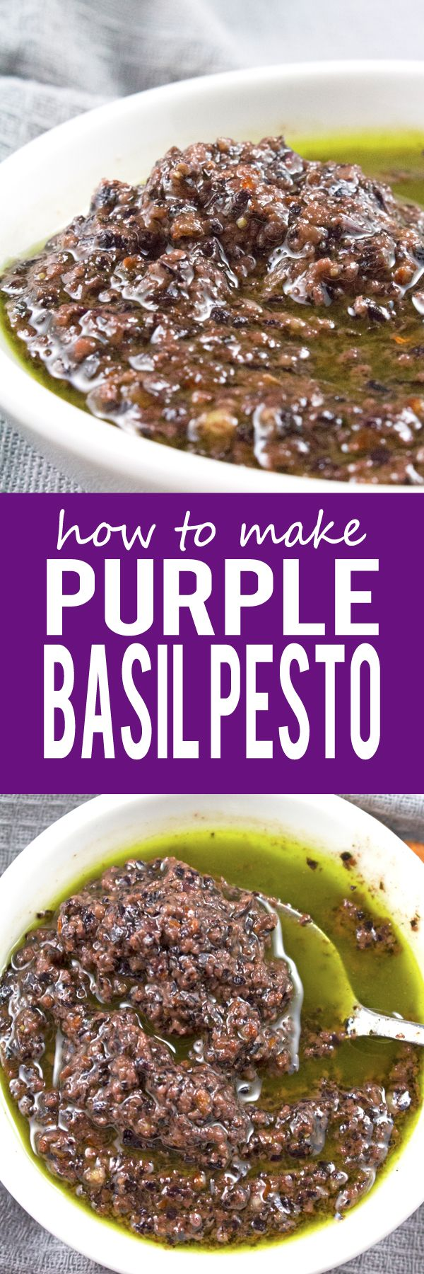How To Make Purple Basil Pesto - AMAZING homemade basil pesto that is super easy to make (only 10 mins)! You'll never buy pesto from the store again!! TRY THIS!