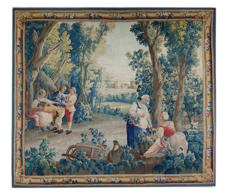 Tapisserie d'Aubusson Epoque XVIIIe siècle-Scène Colin-maill