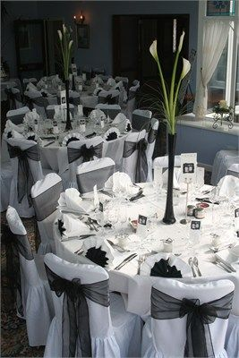 Black & white reception wedding flowers,  wedding decor, wedding flower centerpiece, wedding flower arrangement, add pic source on comment and we will update it. www.myfloweraffair.com can create this beautiful wedding flower look.