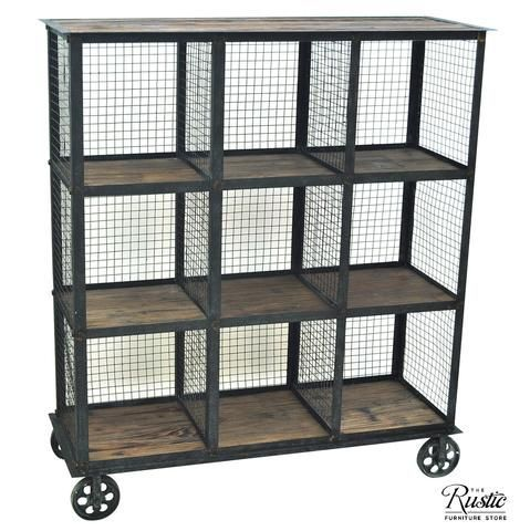 Crestview Collection Industrial Metal and Wood Bookcase SKU: CVFZR1004 Perfect for a library, this Industrial Metal and Wood Bookcase has nine square compartments to place your favorite books or magazines. Its shelves are made with