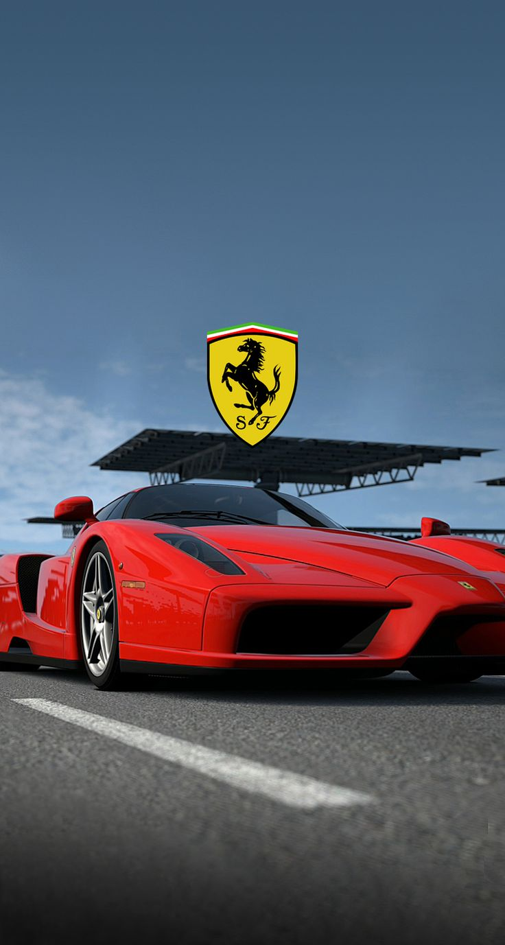 Red Ferrari with logo Wallpaper Free Mobile Phone