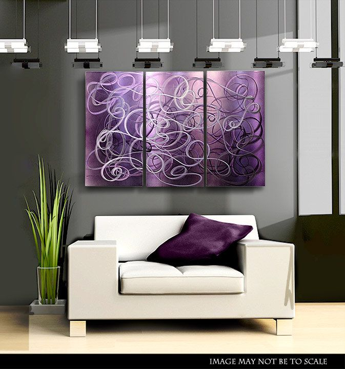 Purple Abstract Metal Wall Art Modern Metal Painting